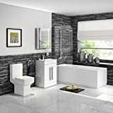Shower Bath Suite Straight Bathtub with Screen Basin Vanity Unit & Toilet Set BSP2159
