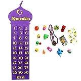 Handgefertigt Filz Ramadan / Eid Wandbehang Countdown Kalender mit / Geschenk Taschen - lila + 15 Geschenke zufällige Auswahl
