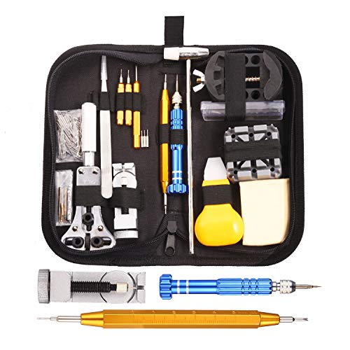 Gusodor orologi strumenti kit 147 pcs riparazione orologio guarda professionale kit ripara strumenti e kit di riparazione portable orologi kit ripara orologi con manuale e custodia
