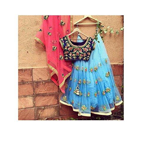 Salwar Style Women\'s Georgette Long Cholis Lehenga Choli (Firozi Blue_Blue_Free Size)