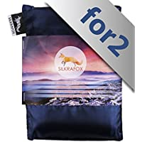 Silkrafox for 2 - ultralight sleeping bag liner for 2 persons, artificial silk inlett, perfect for hiking, backpacking, outdoor activities