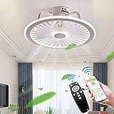 Dempen Plafondventilatorlamp met verlichting en afstandsbediening Ultradunne 18CM Plafondlamp Onzichtbaar stil LED Dimbaar Plafondventilatoren Verlichting voor woonkamer Slaapkamer,White