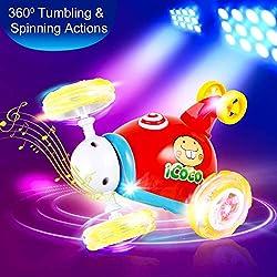 OCDAY Voiture Télécommandée 2 Canaux Rotation à 360° RC Jouets avec Musique et Lumière Cadeau pour Bébés et Enfant (Rouge)