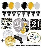 Celebrazioni decorazione solidi per 21compleanno | Completo compleanno decorazione 21anni | 31pezzi Oro Nero Argento con mongolfiera | Party Set Decorativo Happy Birthday 21