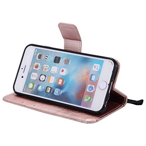 Coque pour iPhone 5 5S 5G / iPhone SE,Housse en cuir pour iPhone 5 5S 5G / iPhone SE,Ecoway Tournesols de motifs en relief étui en cuir PU Cuir Flip Magnétique Portefeuille Etui Housse de Protection C Or Rose