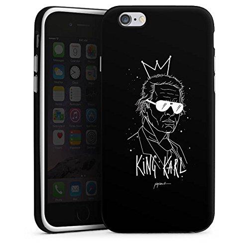 Apple iPhone 6s Plus Hülle Case Handyhülle Karl Lagerfeld Kunst Mode Silikon Case schwarz / weiß
