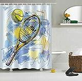 Decorazione Bagno,3D HD Printing Non Sbiadisce,Tennis Racket Tennis Tessuto Poliestere Impermeabile Set Doccia,12 Ganci Doccia,180X180 Cm,Accessori Casa