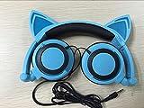 Lecc Cat Ear Headphones Auriculares estéreo de 3.5mm con Orejas Brillantes para niños Plegable Rotar Ear Stereo Headphone para niñas Cosplay Compatible con iPhone Android,L