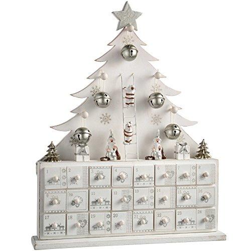 WeRChristmas Calendrier de l'Avent, Sapin de Noël décoratif en Bois, Bois Dense, Blanc, 32 x 6.5 x 40 cm
