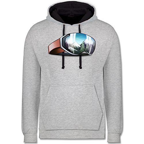 Wintersport - Skibrille - L - Grau meliert/Navy Blau - JH003 - Kontrast Hoodie