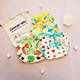Superbottoms New Super Nappy with SUPERDRYFEEL Layer- Pack of 3 Printed- Soft, Organic Cotton Nappies with a Super dryfeel Layer on top and with Gentle Elastics for Newborn Babies (Size 1)