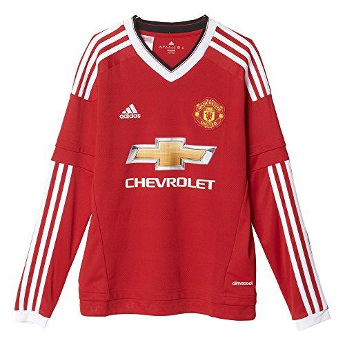 adidas Jungen Langarm Heimtrikot Manchester United Replica, Real Red/White/Black, 176, AC1419 (Manchester United Torwart Trikot)