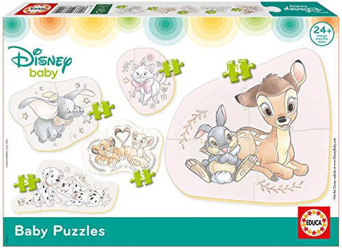 Educa Borrás- Mickey Top Départ Baby Disney Animaux 5 Puzzles, 17755