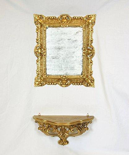 Console étagère + Miroir Or Mural Imitation Vintage Style Louis XVI Baroque