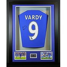 Jamie Vardy Leicester City firmado camiseta 3d enmarcado pantalla con COA