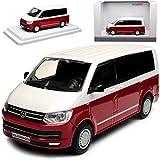 Volkwagen T6 Weiss Rot Personen Transporter T5 Ab 2. Facelift 2015 1/43 Modellcarsonline Modell Auto mit individiuellem Wunschkennzeichen