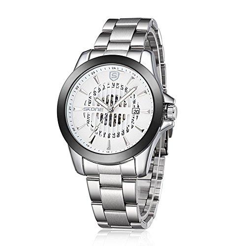 gn Herren Hohl automatische Mechanik Uhrwerk Stahl Band 504102, silber weiß ()