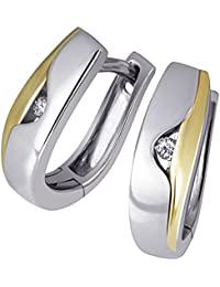 Goldmaid Damen-Creolen Ohrringe 925 Sterlingsilber gelb vergoldet 2 Diamanten Bicolor Brillianten Schmuck
