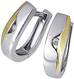 Goldmaid Damen-Creolen Ohrringe 925 Sterlingsilber gelb vergoldet Diamanten