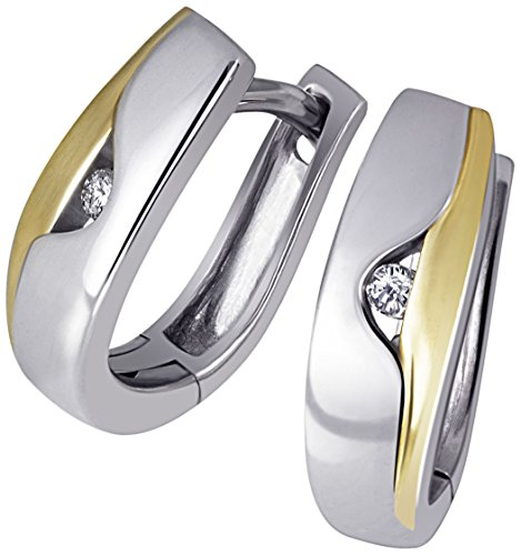 Goldmaid Damen-Creolen Ohrringe 925 Sterlingsilber gelb vergoldet 2 Diamanten Bicolor Brillianten (Ohrringe Diamant)
