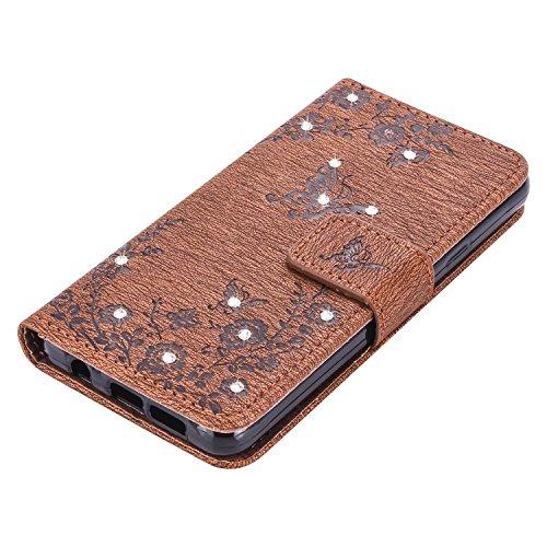 Hülle für Samsung Galaxy S7 Edge Schmetterling,TOCASO Glitter Strass Bling Ledertasche Muster Weich PU Schutzhülle für Samsung Galaxy S7 Edge Flip Cover Wallet Case Tasche Handyhülle mit Lanyard Strap Diamant-Schmetterling, 1