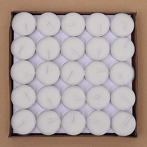 Txyk rauchfreie Kerzen Duftkerze Valentinstag Romantische Kerzen Teelichter Set für Schlafzimmer, Wohnzimmer, Büro 50 Stück Weiß -