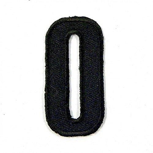 Aufnäher/Bügelbild mit Buchstabe O englischer Großbuchstabe Alphabet 50 mm schwarz gestreift bestickt Hemd Hut Kleidung Jeans Jacke - Schwarzes Besticktes Hemd