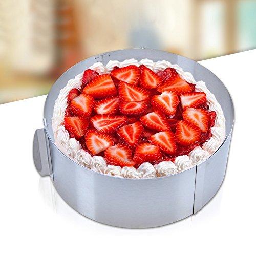 Lanceasy Backform, einziehbarer Edelstahl Kreis Mousse Ring-Form-Backen-Werkzeug-Satz-Kuchen-Form Größe Adjustable Bakeware