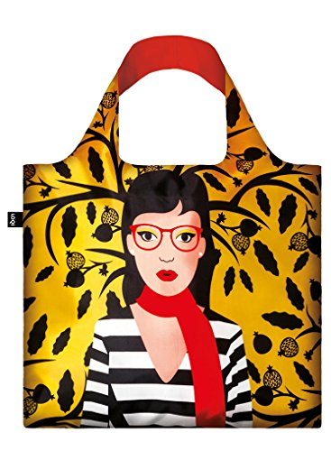 LOQI - COOL PEOPLE - Snake Lady Reusable Bag by Cristina Caramida (Tasche Griff Falte)