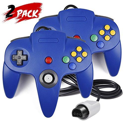 Jeda Game Controller Joystick für Nintendo 64N64System Pad Mario Kart (Blau Zwei Packungen)
