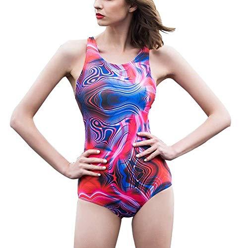 1949shop Damen Badeanzug Einteiler Sport Athletic Badeanzug mit Brustpolstern (Farbe: Rosarot, Größe: XXL) (Einteiler Badeanzug Athletic)
