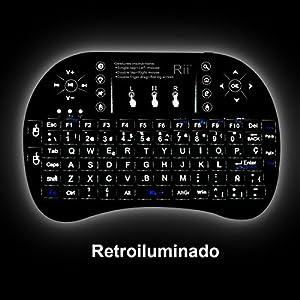 514v48xOdTL. SS300  - (Actualizado, Retroiluminado) Rii i8+ Mini teclado inalámbrico 2.4Ghz con touchpad integrado, retroiluminación Led y batería recargable de Litio-ION de larga duración.