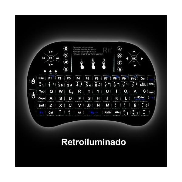 514v48xOdTL. SS600  - (Novedad 2015, con Luz de fondo) Rii mini i8+ Mini teclado ergonómico con ratón tipo touchpad incorporado. Compatible con SmartTV, Mini PC, Android, PS3, PS4, Xbox, HTPC, PC, Raspberry Pi, Kodi, XBMC, IPTV, MacOS, Linux y Windows XP/7/8/10