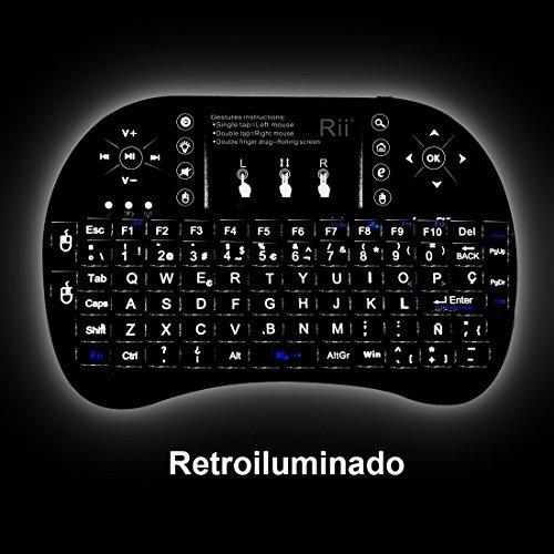 514v48xOdTL - (Novedad 2015, con Luz de fondo) Rii mini i8+ Mini teclado ergonómico con ratón tipo touchpad incorporado. Compatible con SmartTV, Mini PC, Android, PS3, PS4, Xbox, HTPC, PC, Raspberry Pi, Kodi, XBMC, IPTV, MacOS, Linux y Windows XP/7/8/10
