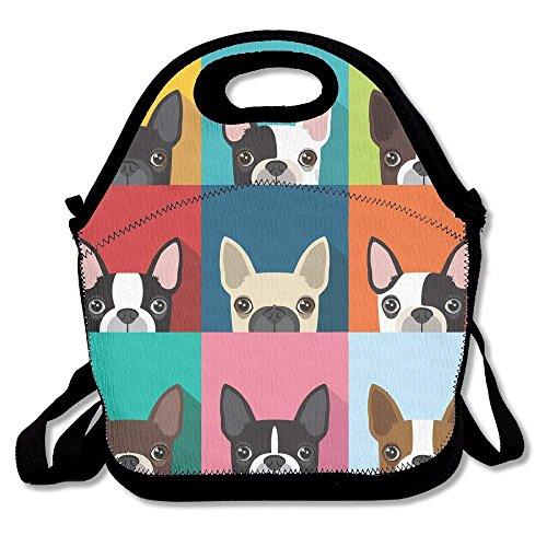 Cartoon Boston Terriers Bulldog Multifunctional Lunch Tote Bag Carry Box (Wie Ein Man Lol)