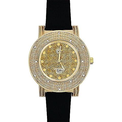 Techno da uomo pavé Iced Out Diamond-Cut-Orologio da donna, lunetta in oro e nero, motivo: fascia in gomma - Cut Gold Diamond