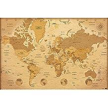 """Póster Mapa del mundo Vintage/Estilo antiguo """"Versión en Español"""" (91,5cm x 61cm)"""