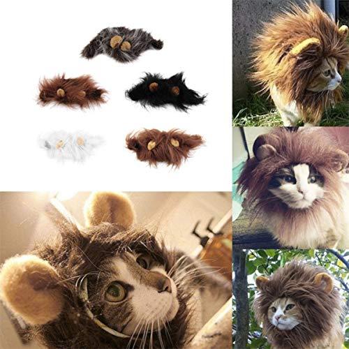 WEIWEITOE Schöne pet kostüm Lions mähne perücke für Katze Halloween Weihnachten Party Dress up mit Ohr pet Bekleidung cat Fancy Dress weiß m