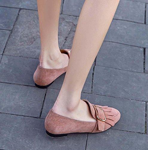 NobS Cuoio quadrato Toe Fibbia nappa scarpe piane scarpe casual Pink