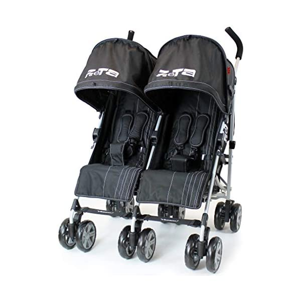 Zeta VOOOM Twin Double Stroller - Black iSafe Suitable From Birth - 3 Years (Max weight 30 KG!) 4 position recline (Suitable from birth) Double Rain-cover (Included!) 5 Point Safety Harness with shoulder Pads (Yes!) Foam Grip Handles (Yes!) Umbrella Folding (Yes!) Safety hinges all round! (Yes!) Carry Handle (Yes!) Folded Size W42 x L96 x H44 Open Size W73 x L63 x H104 1