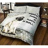 cucha 2Diseños de perro y edredón de funda de edredón y de almohada de perros Cachorro Ropa de cama juego de cama, Beige, Tamaño king