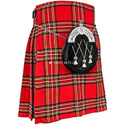 Para hombre tradicional escocés 5Patio Kilt, Royal Stewart Tartán Kilt, tamaño 30–48