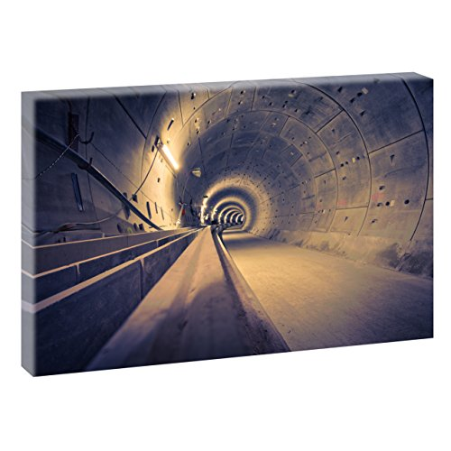Hamburg U4 Ubahntunnel | V1720510 | Bilder auf Leinwand | Wandbild im XXL Format | Kunstdruck in 120 cm x 80 cm | Bild HH U-Bahn Tunnel Elbe Alster