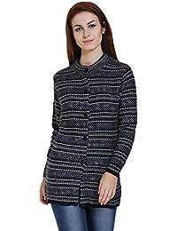 TAB91 Women's Dark Blue Round Neck Designer Long Sweater
