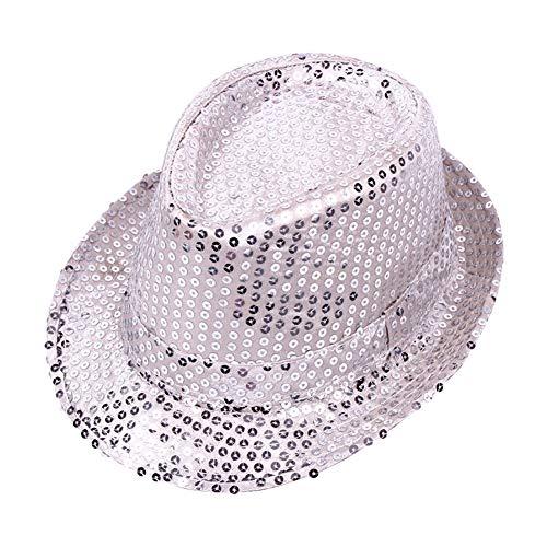 Cosanter Glitzernder Pailletten Hüte für Tanzparty Bühnenperformance Mützen & Caps Unisex, 58 cm Silber