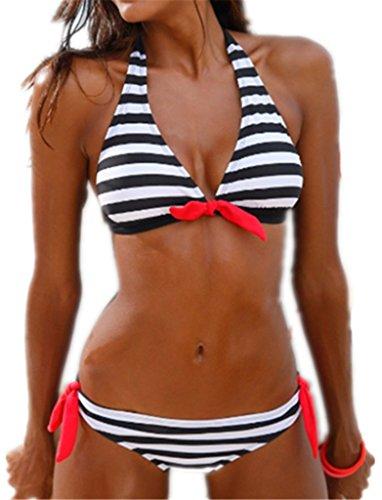 Damen Elegant Einteilige Neckholder Streifen Swimwear Badeanzüge Triangel Modern Bustier Strand Riemchen...