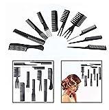 Gearmax Set 10 Peigne Plastique Noir Antistatique pour Salon Coiffure Barbier Cheveux