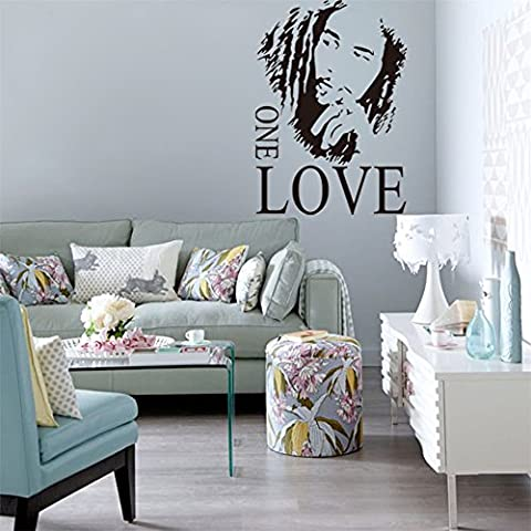 JINGXU Home Decor BOB MARLEY ONE LOVE Removable Vinyl Quotes Wall Stickers Art Decal