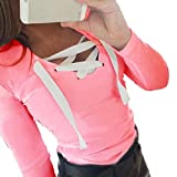 Damen Sweatshirt Langarm Sonnena Verband Hemd mit V-Ausschnitt Bluse Tops (Asian M, Rose)