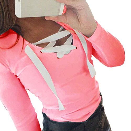 Damen Sweatshirt Langarm Sonnena Verband Hemd mit V-Ausschnitt Bluse Tops (Asian S, Rose) (Full Shirt Sleeve Kurze)